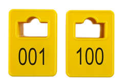 Coatroom Tokens In Stock - Yellow - Square Opening - 001-100