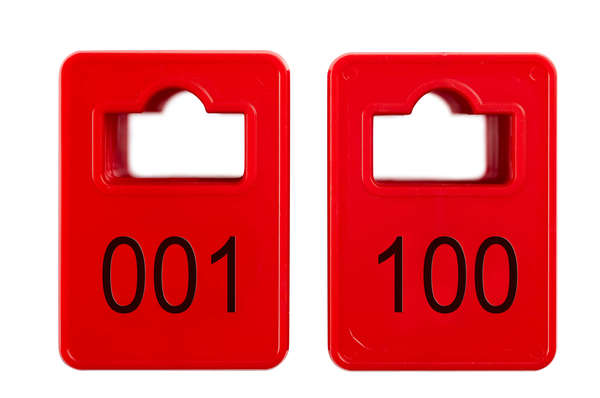 Coatroom Tokens In Stock - Red - Square Opening - 001-100