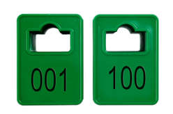 Coatroom Tokens In Stock - Dark Green - Square Opening - 001-100