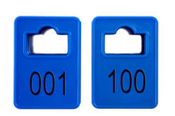 Coatroom Tokens In Stock - Dark Blue - Square Opening - 001-100