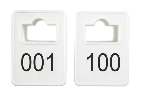 Coatroom Tokens In Stock - White - Square Opening - 001-100