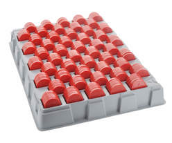 Tray filled with embossed stock-tokens - Red - Star