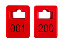 Coatroom Tokens In Stock - Red - Square Opening - 001-200