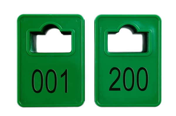 Coatroom Tokens In Stock - Dark Green - Square Opening - 001-200