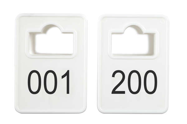 Coatroom Tokens In Stock - White - Square Opening - 001-200