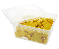 Box of embossed tokens - ø 1.14'' - Yellow - Star