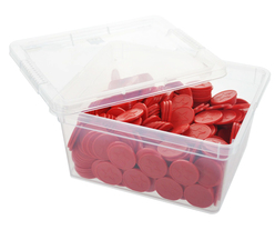 Box of embossed tokens - ø 1.14'' - Red - Star