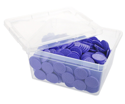 Box of embossed tokens - ø 1.14'' - Purple - Sun