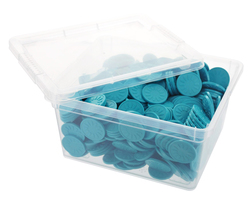 Box of embossed tokens - ø 1.14'' - Aqua - Sun