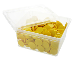 Box of blank tokens - ø 1.14'' - Yellow