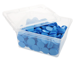 Box of blank tokens - ø 1.14'' - Light Blue