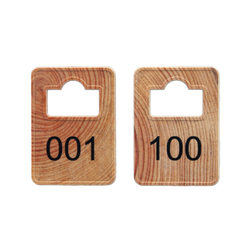 Coatroom Tokens In Stock - Wood - Square Opening - 001-100