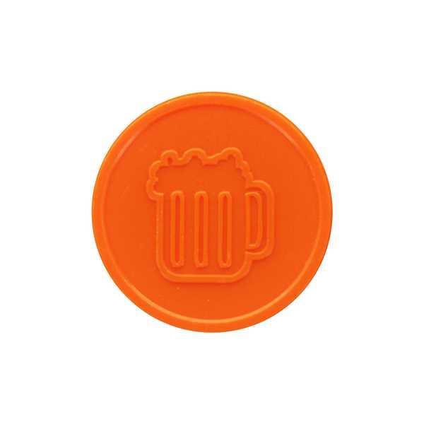 Embossed In-Stock Tokens ø 1.14'' - Orange - Beer mug